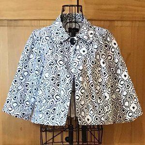 Black & White Diamond Pattern Cropped Blazer
